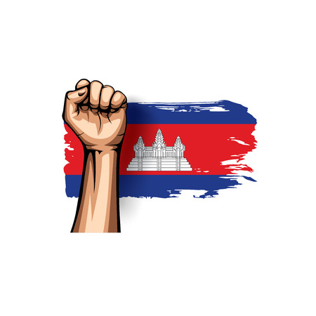 Cambodia flag and hand on white background. Vector illustration.