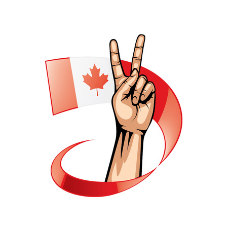 Canada flag and hand on white background. Vector illustration. Illustration