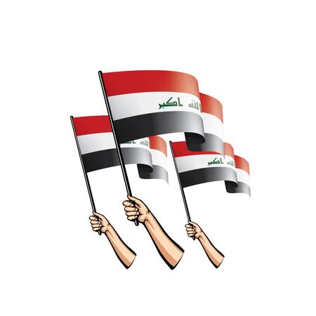 Iraakse vlag en hand op witte achtergrond. vector illustratie Vector Illustratie