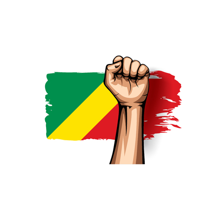 Congo flag and hand on white background. Vector illustration.