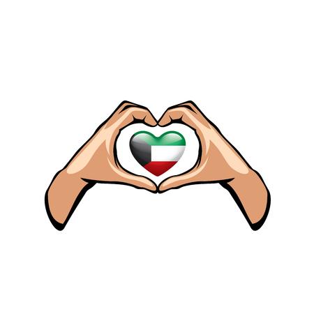 Kuwait flag and hand on white background. Vector illustration. Ilustração