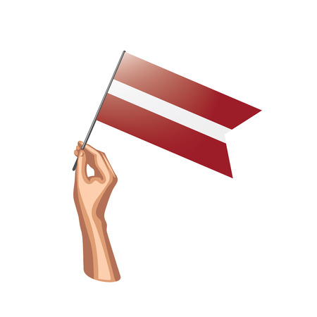 Latvia flag and hand on white background. Vector illustration. Vectores
