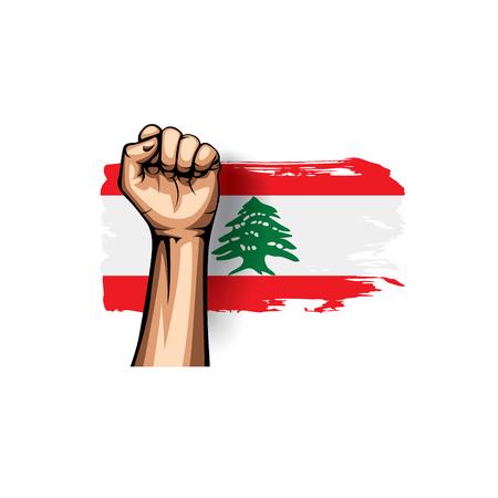 Bandera libanesa y mano sobre fondo blanco. Ilustración vectorial. Ilustración de vector