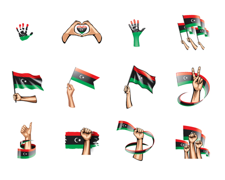 Libya flag and hand on white background. Vector illustration. Illustration
