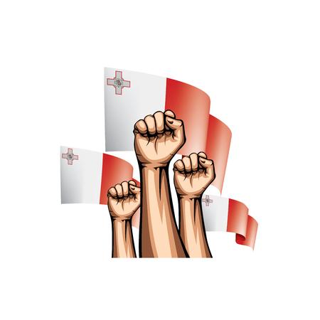 Malta flag and hand on white background. Vector illustration