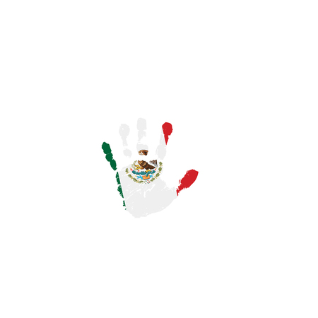 Mexican flag and hand on white background. Vector illustration.