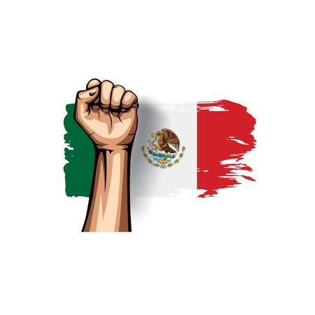Mexican flag and hand on white background. Vector illustration Ilustração