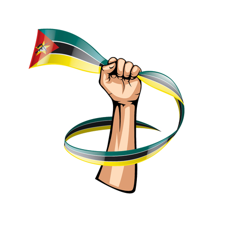 Mozambique flag and hand on white background. Vector illustration.