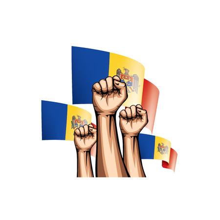 Moldova flag and hand on white background. Vector illustration.
