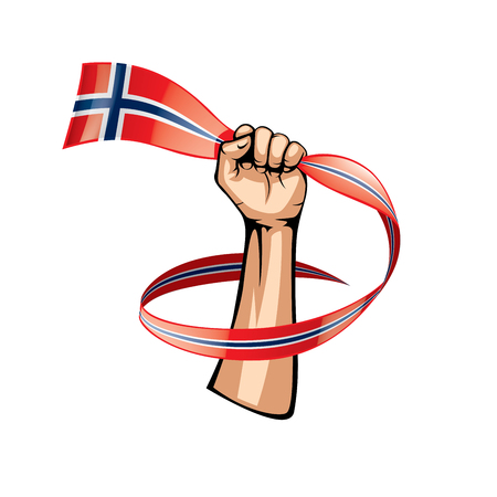 Norway flag and hand on white background. Vector illustration.