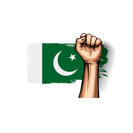Pakistan flag and hand on white background. Vector illustration Banco de Imagens - 116452845