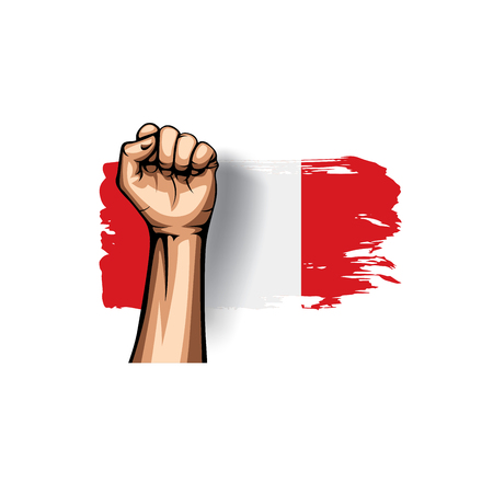 Peru flag and hand on white background. Vector illustration.
