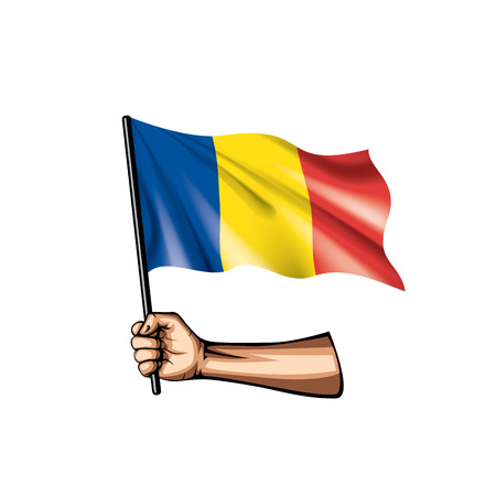 Romania flag and hand on white background. Vector illustration
