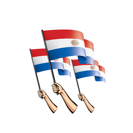 Paraguay flag and hand on white background. Vector illustration.