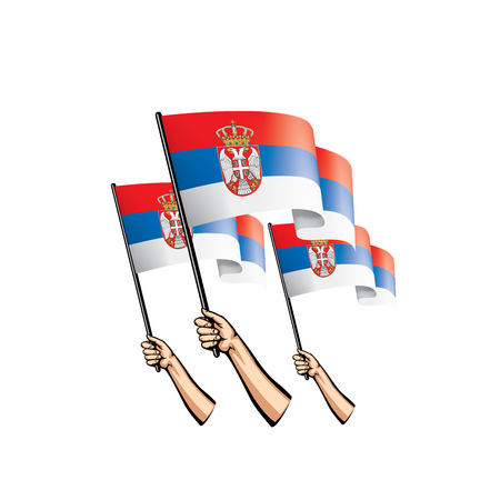 Serbia flag and hand on white background. Vector illustration.