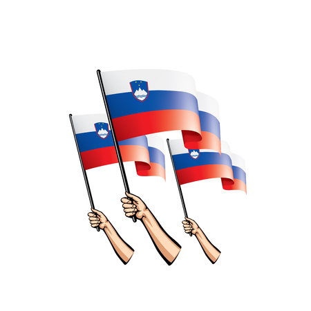 Slovenia flag and hand on white background. Vector illustration.