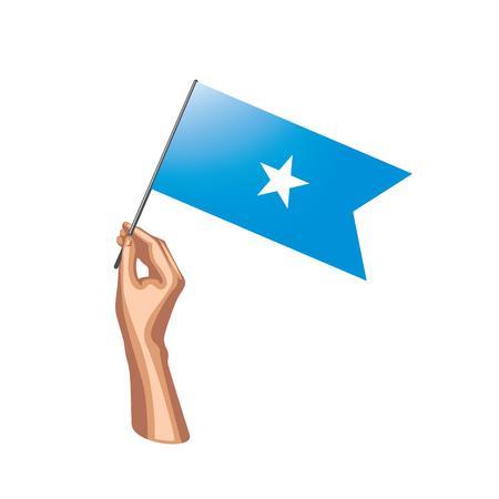 Somalia flag and hand on white background. Vector illustration.