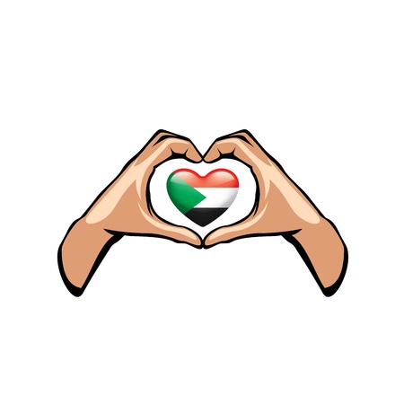 Sudan flag and hand on white background. Vector illustration. Illustration