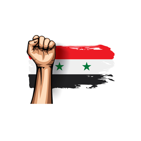 Syria flag and hand on white background. Vector illustration.