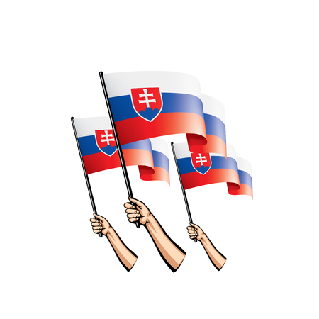 Slovakia flag and hand on white background. Vector illustration.