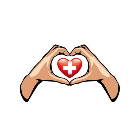 Switzerland flag and hand on white background. Vector illustration. Illustration