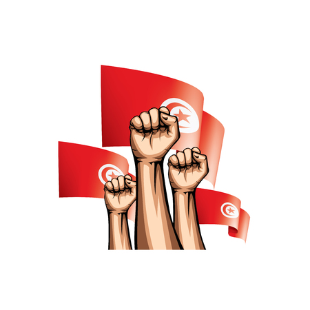Tunisia flag and hand on white background. Vector illustration.