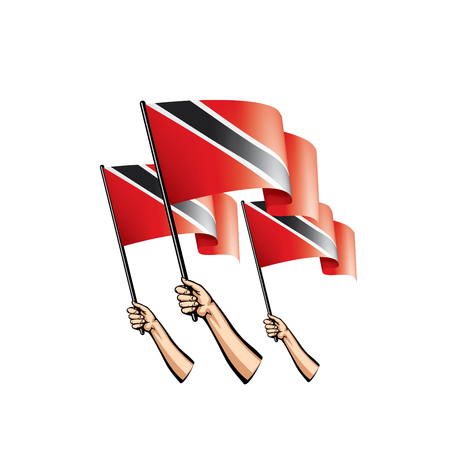 trinidad and tobago flag and hand on white background. Vector illustration.