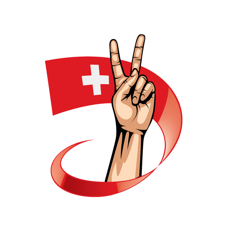 Switzerland flag and hand on white background. Vector illustration. Vectores