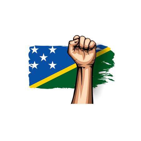 Solomon Islands flag and hand on white background. Vector illustration. Illusztráció