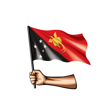 Papua New Guinea flag and hand on white background. Vector illustration. 矢量图像