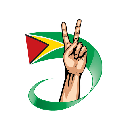 Guyana flag and hand on white background. Vector illustration.