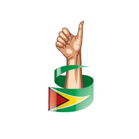 Guyana flag and hand on white background. Vector illustration. 矢量图像