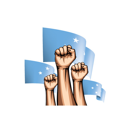 Federated States Micronesia flag and hand on white background. Vector illustration.