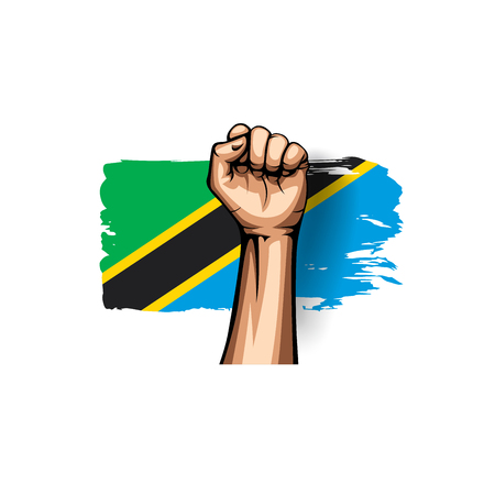 Tanzania flag and hand on white background. Vector illustration.