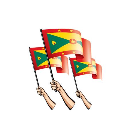 Grenada flag and hand on white background. Vector illustration.
