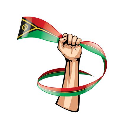 Vanuatu flag and hand on white background. Vector illustration.