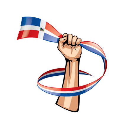 Dominicana flag and hand on white background. Vector illustration.