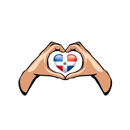 Dominicana-Flagge und Hand auf weißem Hintergrund. Vektor-Illustration.