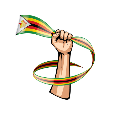 Zimbabwe flag and hand on white background. Vector illustration.
