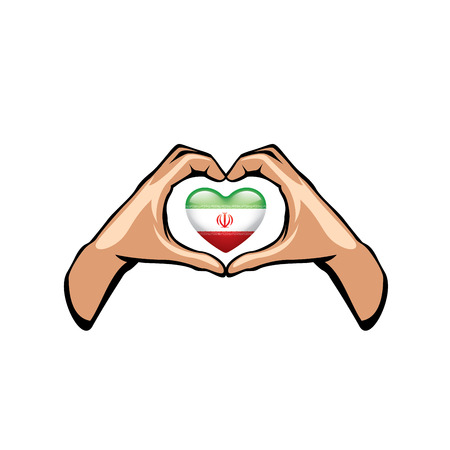 Iran flag and hand on white background. Vector illustration