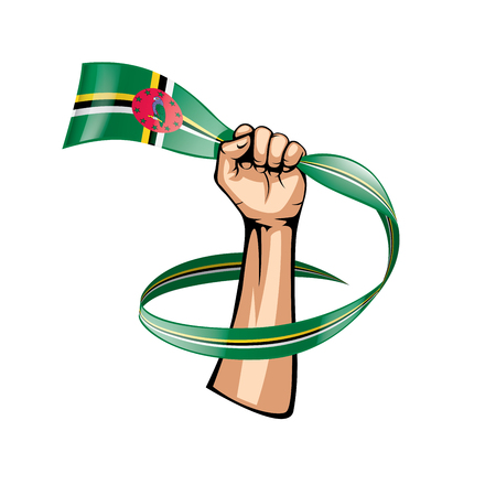 Dominica flag and hand on white background. Vector illustration.
