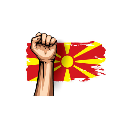 Macedonia flag and hand on white background. Vector illustration.