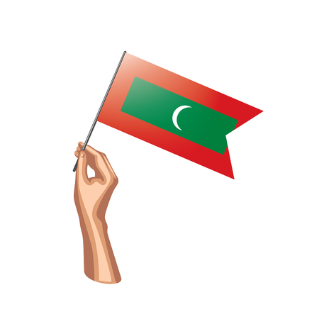 Maldives flag and hand on white background. Vector illustration