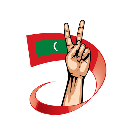 Maldives flag and hand on white background. Vector illustration.
