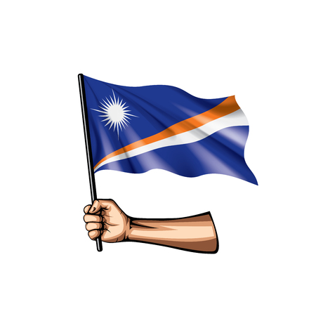 Marshall Islands flag and hand on white background. Vector illustration