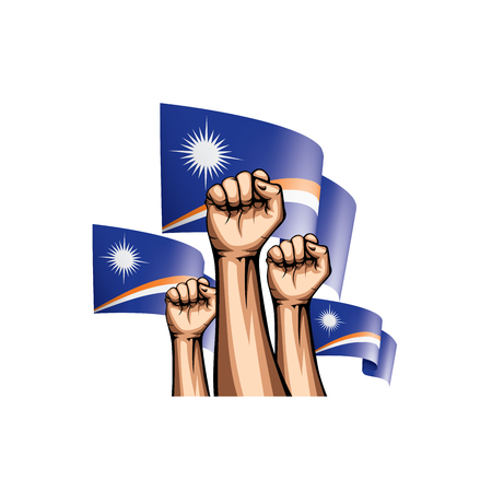 Marshall Islands flag and hand on white background. Vector illustration.