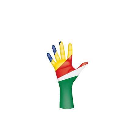 Seychelles flag and hand on white background. Vector illustration.
