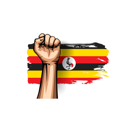 Uganda flag and hand on white background. Vector illustration. Vettoriali