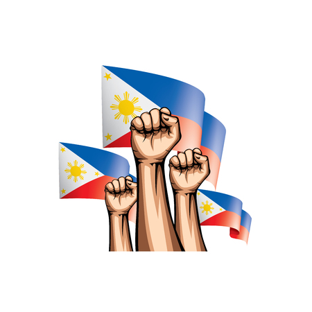 Philippines flag and hand on white background. Vector illustration. 矢量图像