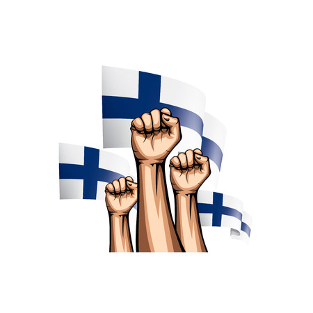 Finland flag and hand on white background. Vector illustration.
